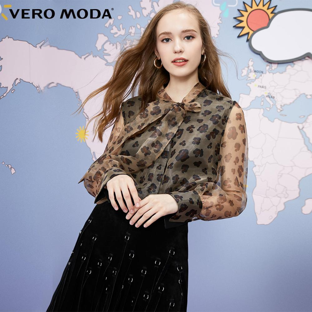 Vero Moda Women's Lace-up Neck Leopard Print Chiffon Shirt | 319305534