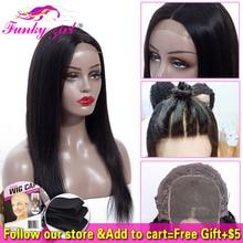 Бразильский 4*4 парик на шнурке прямые человеческие волосы парики для черных женщин 150% плотность фанки Gilr Remy парик на шнурке с детскими волосами