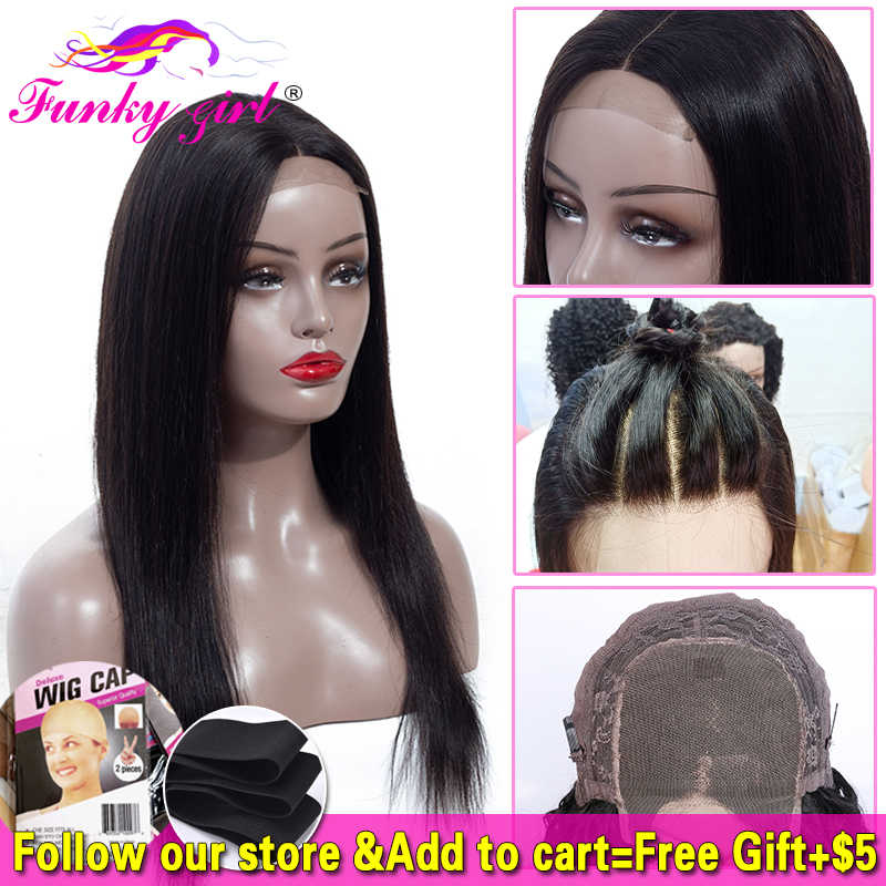 Brazilian 4*4 Lace Closure Wig Straight Human Hair Wigs For Black Women 150% Density Funky Gilr Remy Lace Wig With Baby Hair