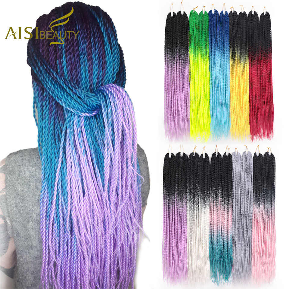 AISI BEAUTY Senegalese Twist Braiding Hair Ombre Crochet Braids 24inch Synthetic Crochet Hair Extensions Black Brown Women