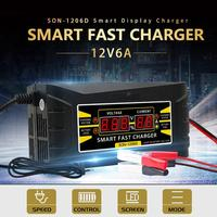 Car Battery Charger SON-1206D+Digital LCD Intelligent Fasts Lead-acid Battery Charger 12V 10A For Car Motorcycle