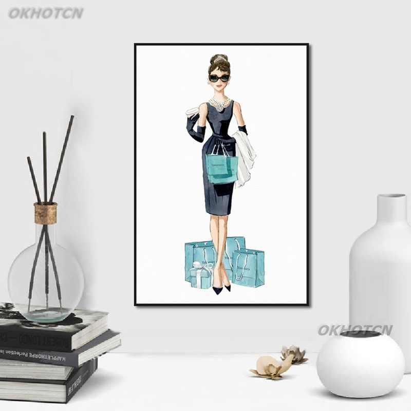 Audrey Hepburn Del Fumetto Sveglio della Tela di Canapa Pittura Bolla Collana di Diamanti Shopping Donna Poster E Stampe di Arte Della Parete Immagine Complementi Arredo Casa