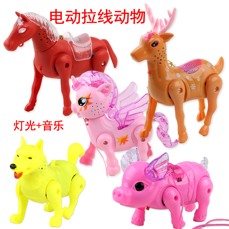 New Style Children Electric La Xian Zhu Music Light Leash Deer Flash Drawstring Animal Stall Night Market Hot Selling
