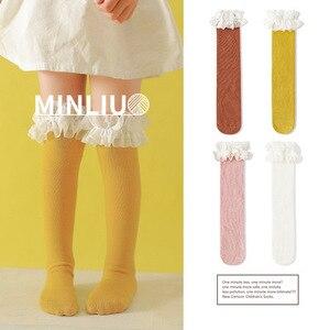 Image 1 - طفل الفتيات جوارب طويلة الدانتيل تنفس الجوارب للفتيات القطن الصلبة الحلو جوارب طويلة إلى الركب الشتاء الدفء موحدة حجم 1.3 كجم #43