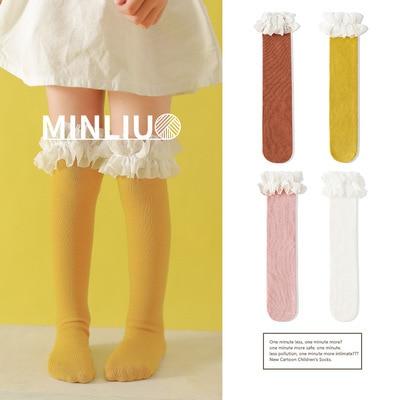 طفل الفتيات جوارب طويلة الدانتيل تنفس الجوارب للفتيات القطن الصلبة الحلو جوارب طويلة إلى الركب الشتاء الدفء موحدة حجم 1.3 كجم #43