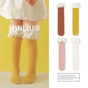 Image 1 - 赤ちゃんの女の子の膝靴下レース通気性の靴下女の子の綿固体甘い膝冬保温制服サイズ 1.3 キロ #43