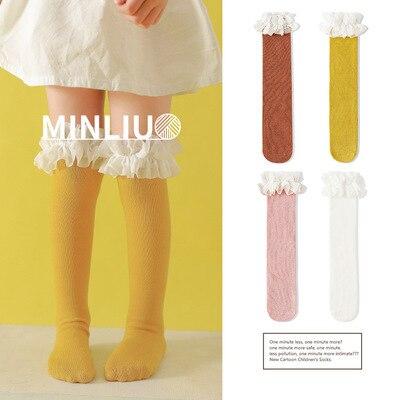 Dziewczynek podkolanówki koronki oddychające skarpetki dla dziewczynek bawełniane stałe słodkie kolana wysokie skarpety zimowe utrzymać ciepłe jednolity rozmiar 1.3kg #43