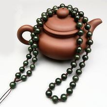 Натуральный Xinjiang Hetian нефритовый шарик ожерелье Sub Jade Подвеска со шнурком 8 мм, круглые бусины веревка производители оптом