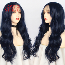 Lovestory Dark Blue Synthetic Hair Lace Wig Loose Wave Middl