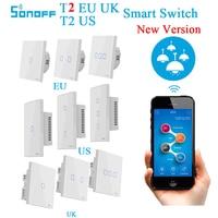 Sonoff t2 eua ue t1 reino unido inteligente wifi interruptor 1 2 3 gang wifi/rf/app casa inteligente controle remoto interruptor de parede de toque temporizador trabalho com alexa