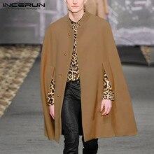 INCERUN jesienno zimowa na co dzień męska jednolita, z kołnierzykiem płaszcz kurtki Baggy puszysty stylowy przycisk Joker męski sweter Trench Streetwear 5XL
