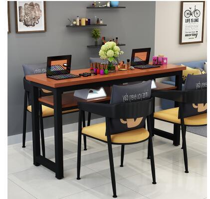 Маникюрный Стол и стул набор простой современный двойной черный маникюрный магазин стол специальная цена ретро Маникюрный Стол одиночный - Цвет: 160 cm 4 chairs