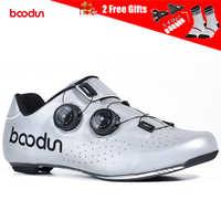 BOODUN Men Reflective Cycling Shoes Carbon Fiber Ultralight Road Bike Shoes Non-Slip Breathable Triathlon Bicycle Racing Shoes