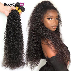 Rucycat Hair-Bundles Weave Human-Hair-Extension Long-Hair Kinky Curly Remy Indian Natural-Color