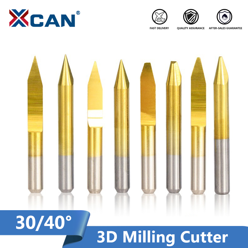 XCAN 10pcs 30/40 Degrees V Shape PCB Engraving Bits Carbide CNC End Mill Flat Bottom Router Bit 3D Milling Cutter