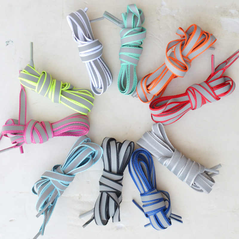 1 Pair 120cm Flat Reflective Runner Shoe Laces Safety Luminous Glowing Shoelaces Unisex for Sport Basketball Canvas Shoes
