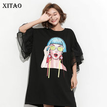 XITAO Splice Ribbon Cartoon Pattern Dress Women Puff Mesh Sleeve Plus Size Casual Party Black Dress Korean Style Summer DLL2106