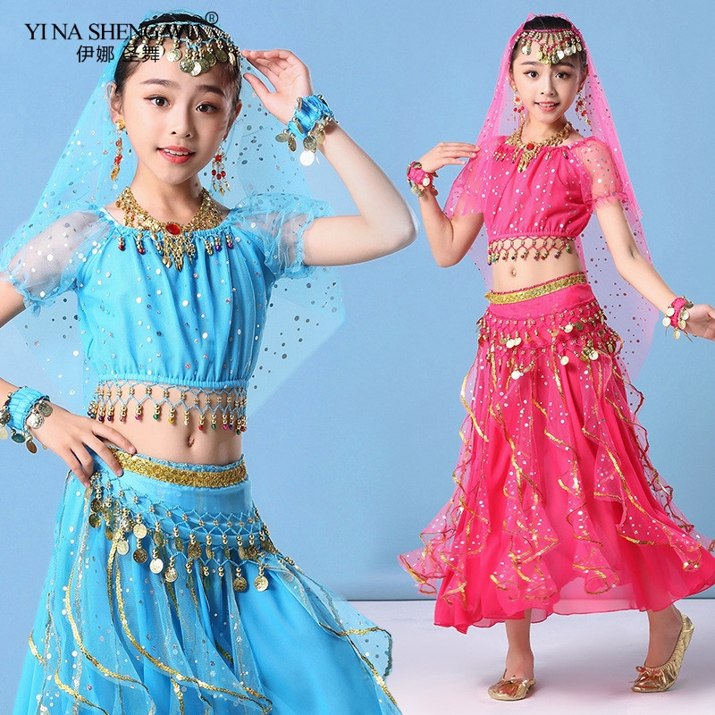 Kids Belly Dance Costumes Set Oriental Dance Girls Belly Dancing India Dance Clothes Bellydance Indian Bollywood Skirt Outfit