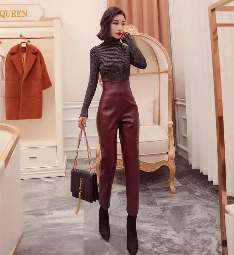 Autumn winter new high waist PU leather pants women fashion loose Faux leather pants women capris woman pants for women