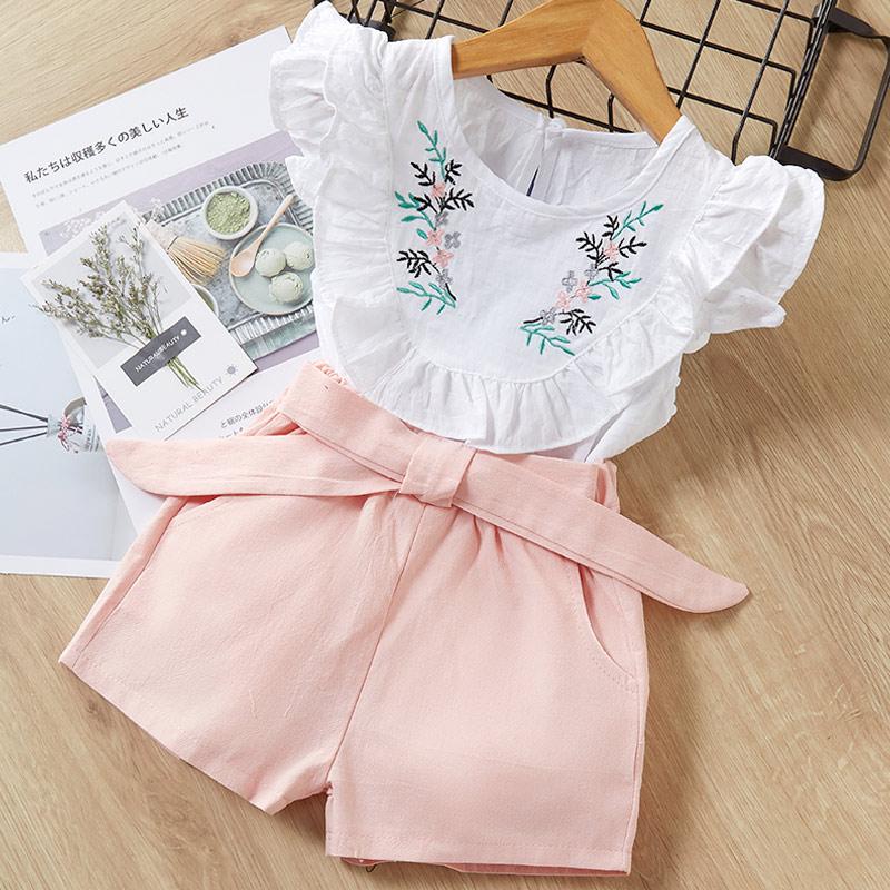 H5ce0738a31cb4e68a60f79e0f1e95c79a Melario Kids Girls Clothing Sets Summer Baby Girls Clothes T-Shirt and Jeans Shorts Suit 2Pcs Children Clothes Suits