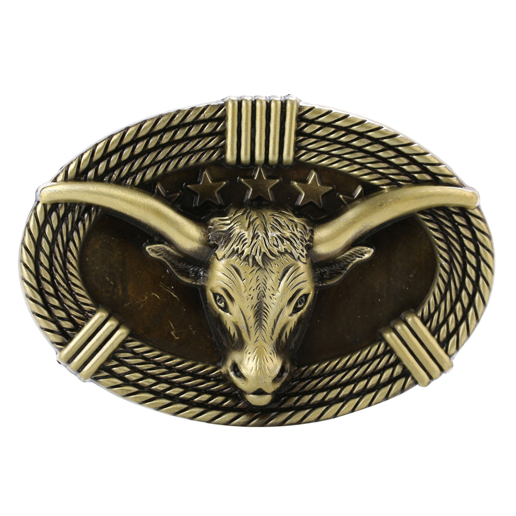 3D Ox Head Embossed Animal Belt Buckle Engraved Western Cowboys Jeans Buckle