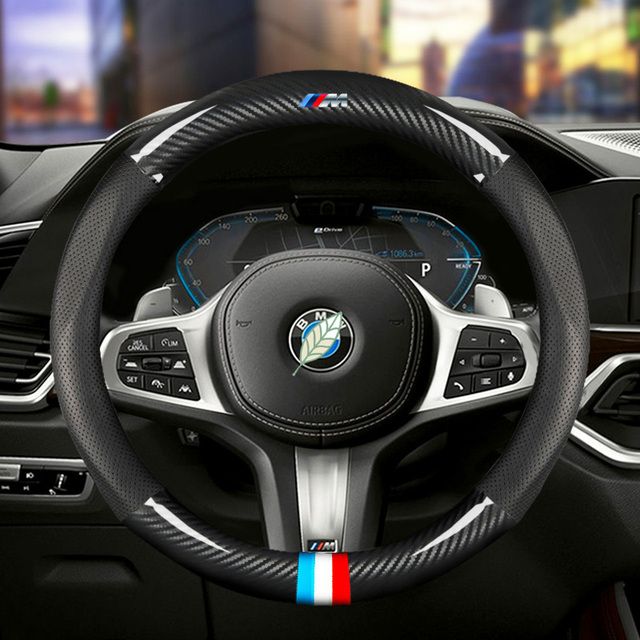 Car Carbon Fiber Steering Wheel Cover 38cm for BMW All Models 1 2 3 4 5 6 7 Series Auto Interior Accessories Car styling 1