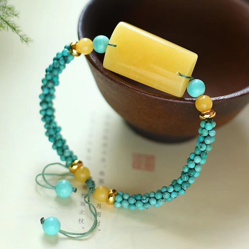 Fine JoursNeige Hand Woven Bracelets Blue Beads with Yellow Natural Stone Bracelets for Women Men Classic Fashion Jewelry - 2