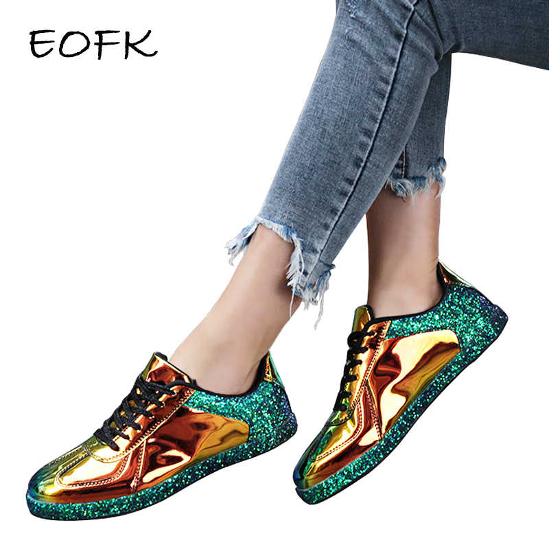 EOFK femmes baskets or paillettes brillant Bling mode chaussures oxford décontractées femme dame ballerines brillant baskets espadrilles