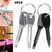 4 Sets Pocket Outdoor Tool Screwdriver Stainless Steel Keychain Key Ring Multi Tools YS-BUY(China)