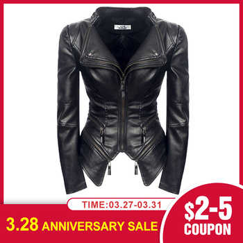 Women Spring Faux Leather PU Jacket Coat Black Fashion Motorcycle Goth Jacket 2020 New Outerwear Punk Gothic Faux Leather Coats women floral print embroidery faux soft leather jacket coat turn down collar casual pu motorcycle black punk outerwear zogaa
