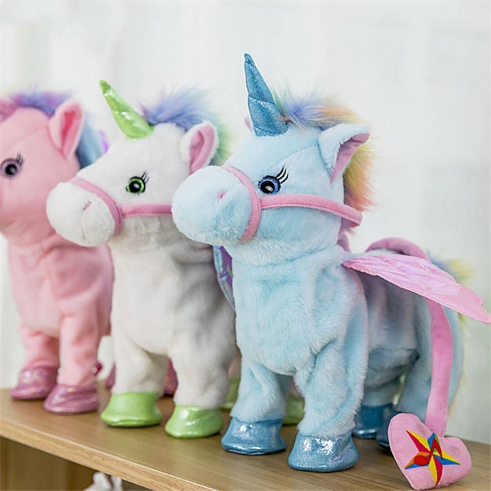 Singing Electric Walking Unicorn Plush Toy Stuffed Animal Toy Soft Electronic Music Unicorn Horse For Children Birthday Gifts