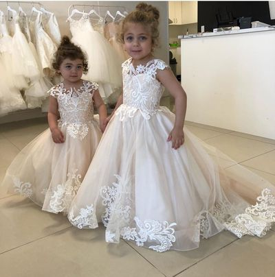Beige Tulle Lace Appliques   Flower     Girl's     Dresses   Floor Length Ball Gowns for Wedding Party Pageant