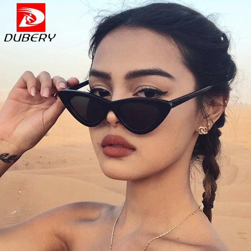 DUBERY Sunglasses Women Grey-Lens Classic Triangle Retro Small-Size New-Fashion Cat-Eye
