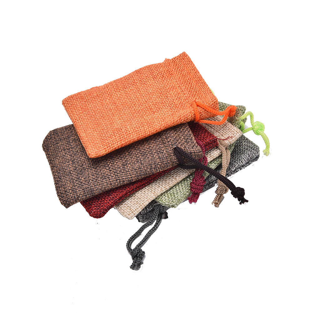 10pcs 7x9cm 10 X 14cm Mini Burlap Jute Drawstring Bags Christmas Rustic Bag Jewelry Pouches Bags