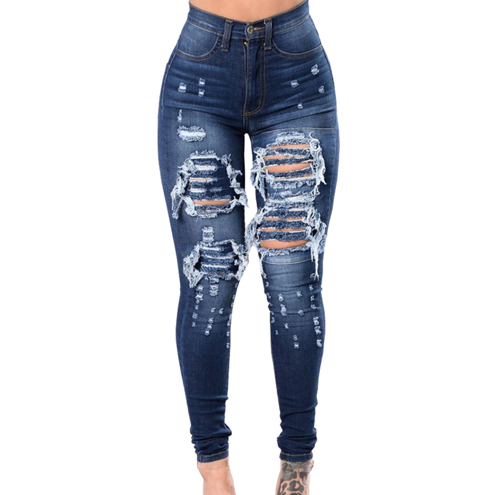 LITTHING 2020 Women High Waist Casual Denim Jeans Slim Plus Size Ripped Hole Long Jeans Denim Regular Pants Women Mom Jeans