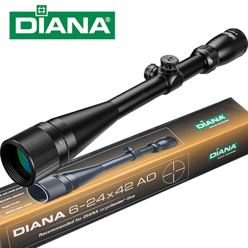 DIANA 6-24x42 AO Tactical Riflescope Mil-Dot Reticle Optical Sight Rifle Scope Airsoft Sniper Rifle Hunting Scopes m3 6 24x50 riflescope tactical optical rifle scope sniper hunting rifle scopes long range airsoft rifle scope