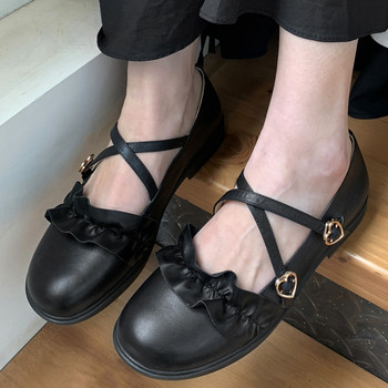Sweet Women Flat Single Shoes Pleated Ruffles Casual Shoes Cross Tied Buckles Mary Janes Flats 2020 Spring Girls Leather Shoes