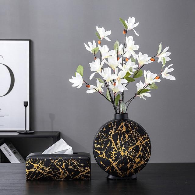 Nordic Ceramic Vase Marble Texture Black Gold Pattern Round Vases Artificial Flowers Floral Flower Arrangement Home Decor Modern اكسسوارات منزلية