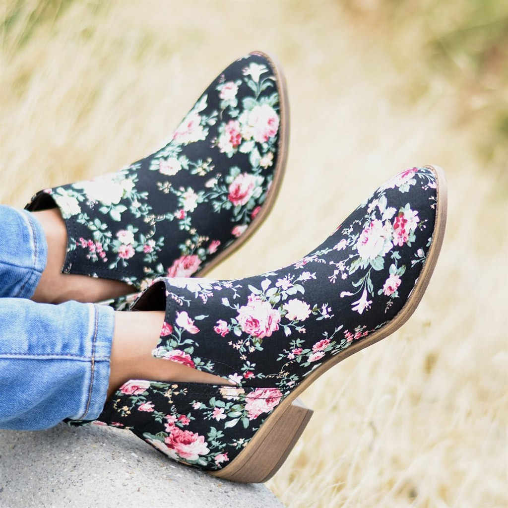 Ankle Boots for Women Flower Floral Print Thick Ankle Short Boots Large Size Ladies Fashion Girls Bootie Casual Comfort Shoes