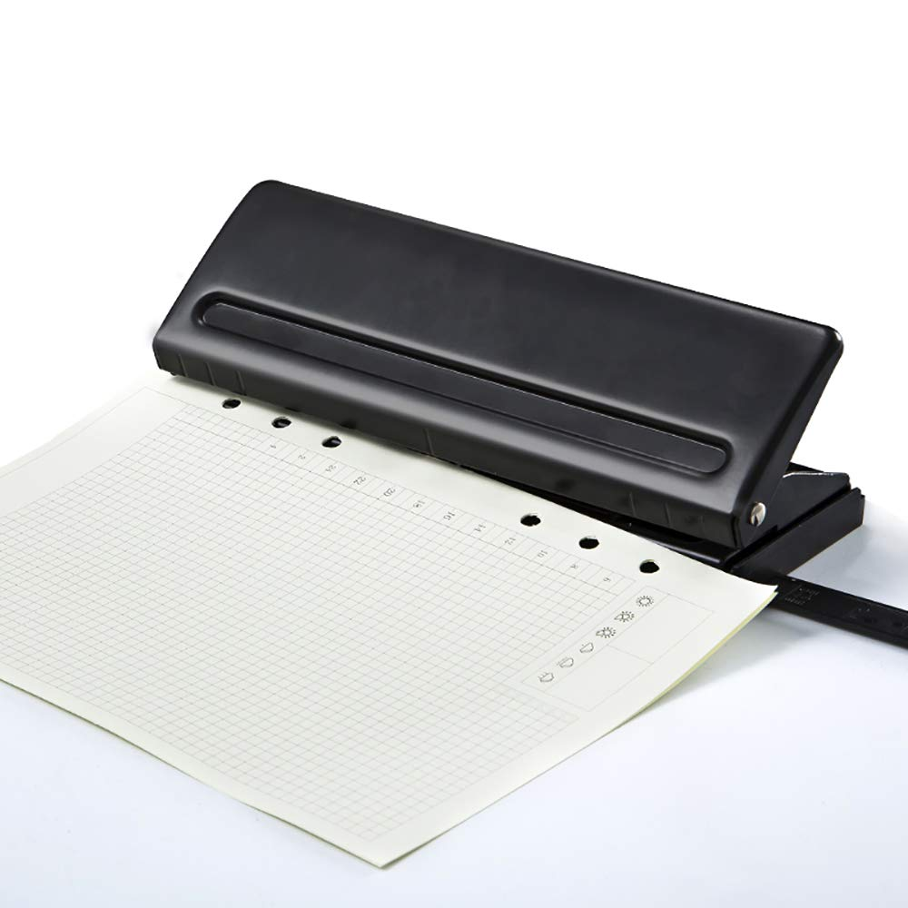 MyLifeUNIT 6 Holes Paper Puncher Adjustable Stainless Steel Desktop Hole Punch 6 Sheets Capacities Craft Punch Paper Cutter