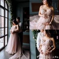 Blush Pink Boho Wedding Dress Maternity Pregnant Women Sexy Spaghetti Straps V Neck Wedding Gowns With 3d Florals bride dress