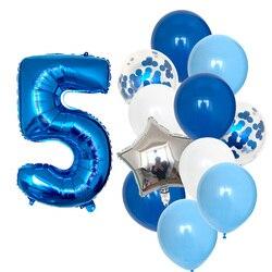 Воздушный шар с днем рождения, 1, 2, 3, 4, 5, 6 баллонов, воздушные шары из фольги для маленьких мальчиков и девочек, украшения для первого дня рожд...