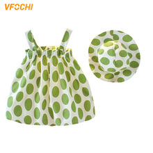 VFOCHI 2020 Girl Dresses with Hat Summer Girls Clothes Dot Print Baby Girl Slip Dress Fashion Kids Dresses For Girls Beach Dress girls baby girl palm print swimsuit with hat