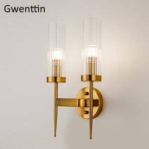 Image 4 - מודרני זהב קיר מנורת Led נורדי מראה קיר אור גופי זכוכית פמוט לסלון חדר שינה בית לופט תעשייתי דקור e27