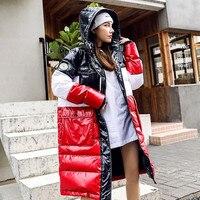Korean Women New Fashion Winter Coats Parka Zipper Long Down Puffer Coat Patchwork Multi Color Hooded Parkas Streetwear Overcoat