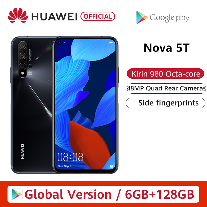 Global Version Huawei Nova 5T 5 T 6GB 128GB Smartphone 48MP Cameras 32MP Front Camera 6.26'' Screen Kirin 980 Android 9 NFC
