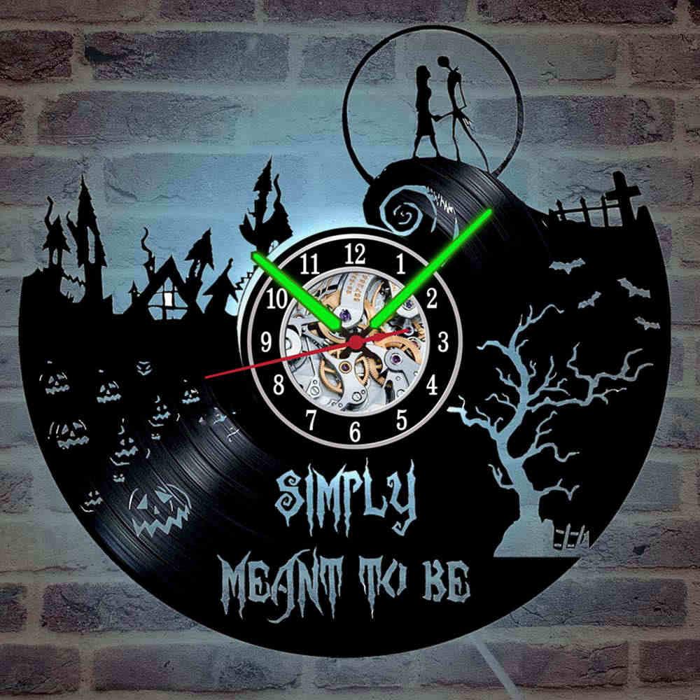 Домашний отдых 12 дюймов черный призрак Виниловая пластинка настенные часы люминова светодиодный светильник Хэллоуин Украшение Искусство бесшумные настенные часы
