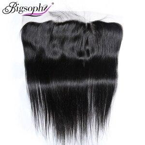Cabelo remy frontal do fechamento 13*4 do laço do cabelo humano do fechamento reto mongol de bigsophy 8