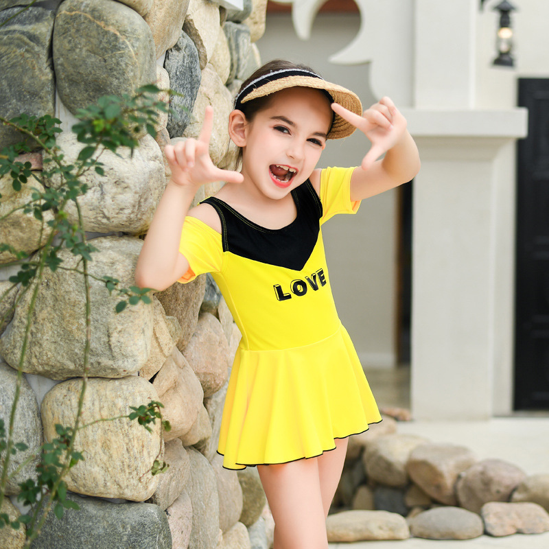 2019 New Style Hot Sales KID'S Swimwear Dress-Triangular Solid Color Hipster Sweet Cute GIRL'S Swimsuit