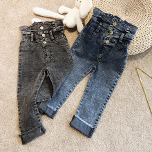 Весенне-летние джинсы для девочек брюки для малышей детские джинсовые штаны детские штаны, уличная одежда, грязная стирка, высокая талия, на кнопках, для детей от 3 до 9 лет